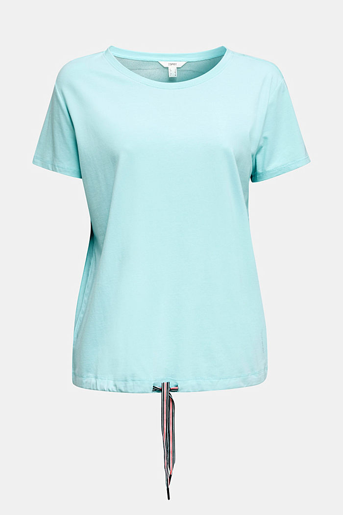 Drawstring top with mesh insert