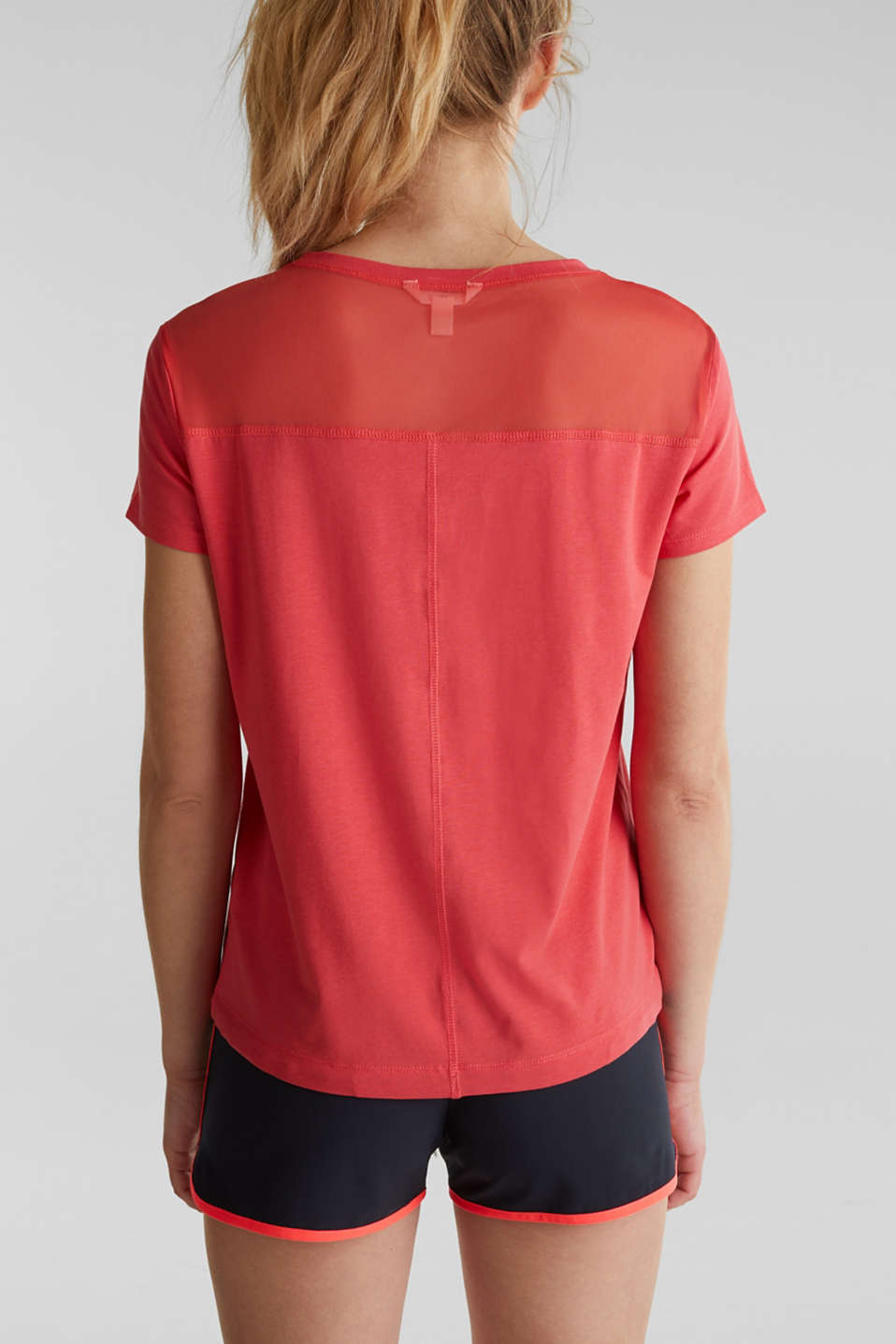 Drawstring top with mesh insert, CORAL, detail image number 3