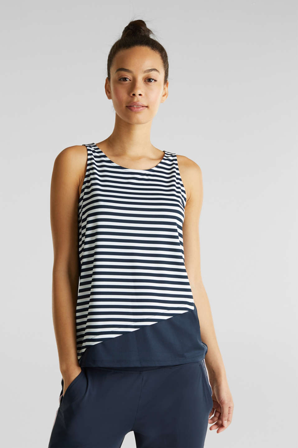 Esprit - Jersey top with stripes, E-DRY