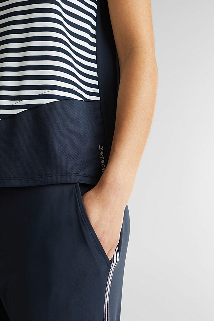 Jersey top with stripes, E-DRY, NAVY, detail image number 1