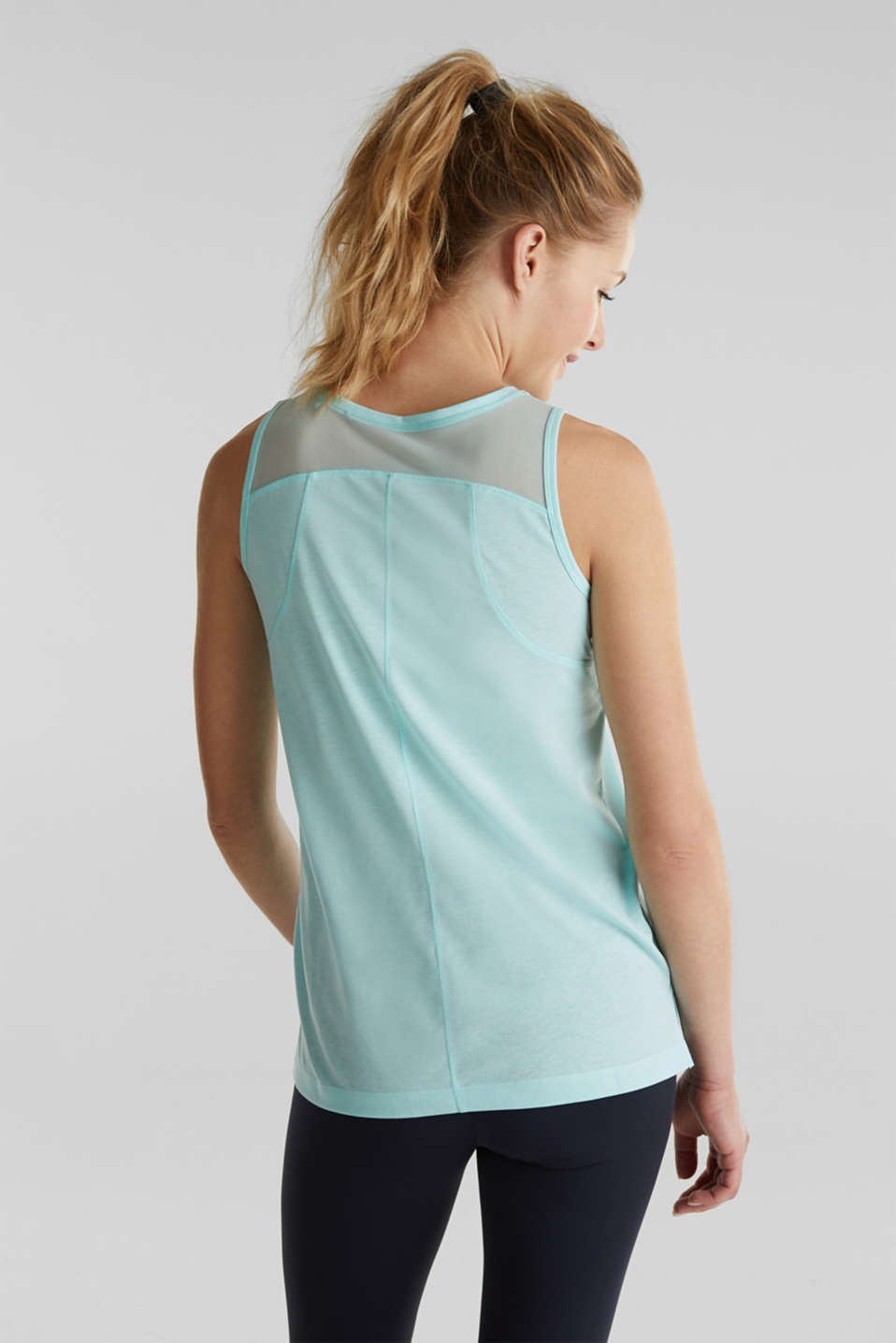 Print top with mesh back, TURQUOISE 2, detail image number 3