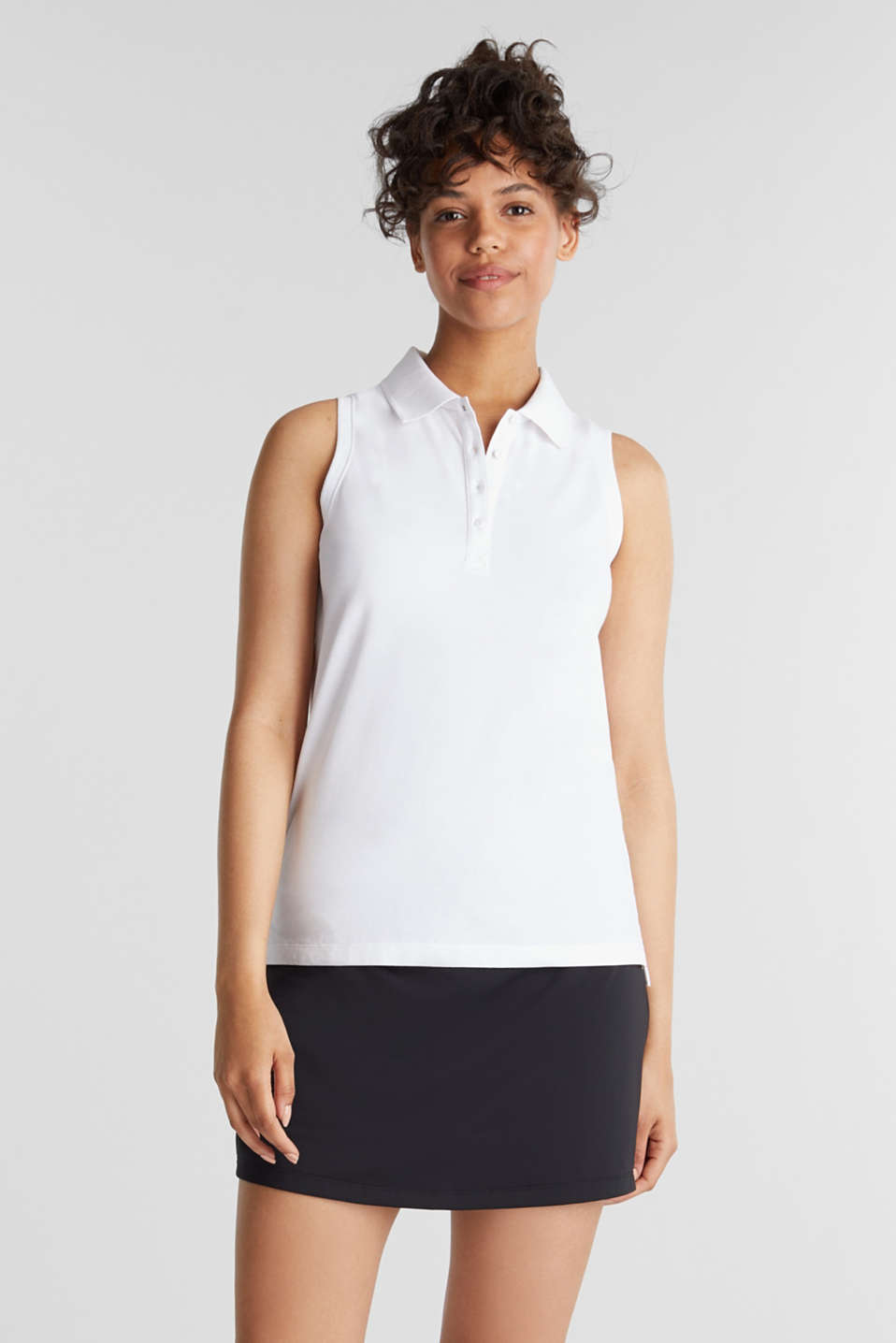 Esprit - Sleeveless piqué polo top