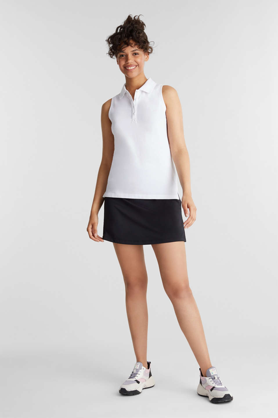 Sleeveless piqué polo top, WHITE, detail image number 1