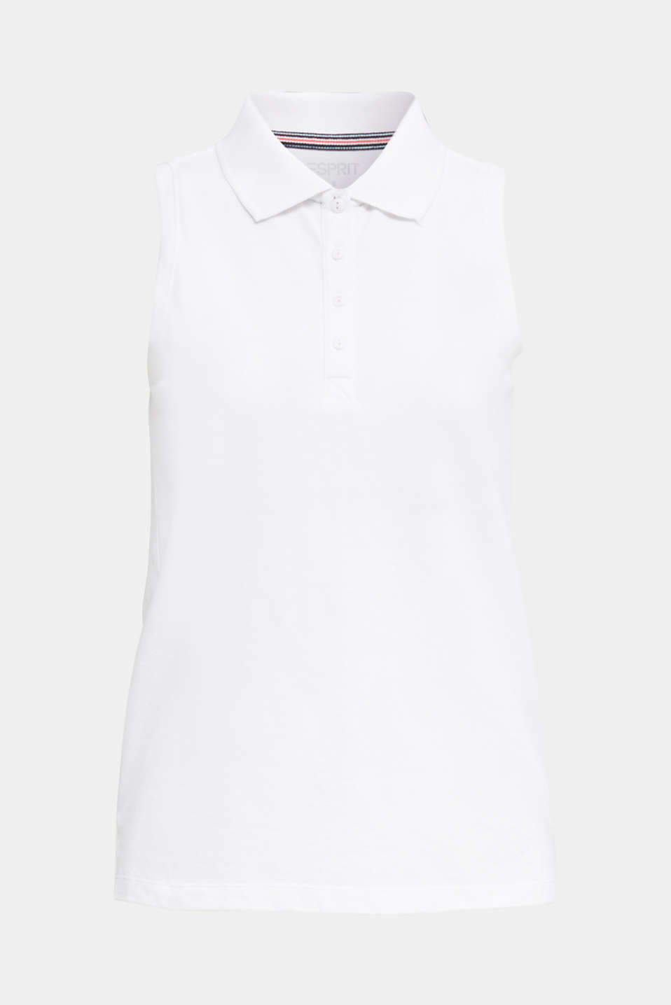 Sleeveless piqué polo top, WHITE, detail image number 6