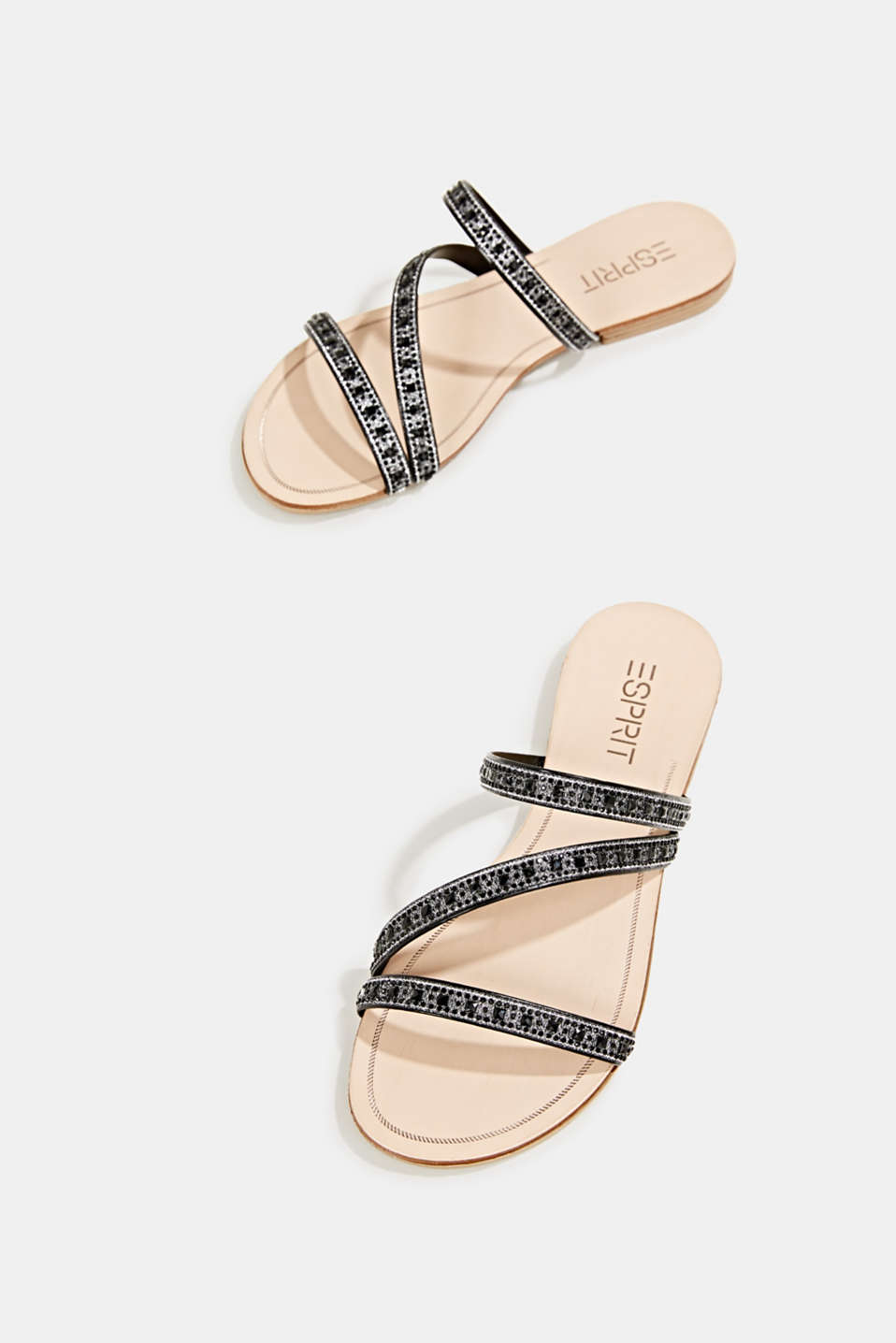 Sandals with glittery straps, BLACK, detail image number 1