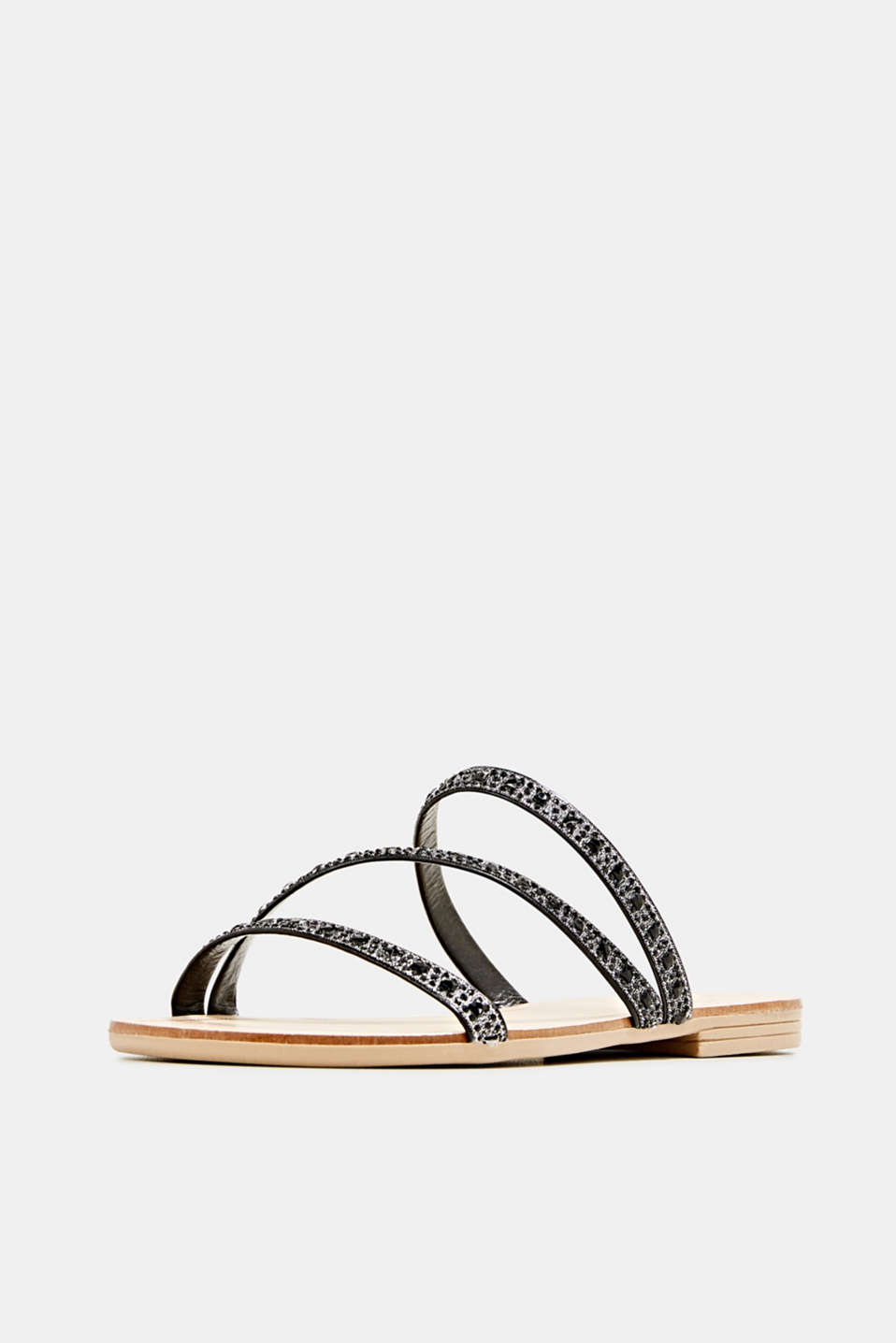 Sandals with glittery straps, BLACK, detail image number 2