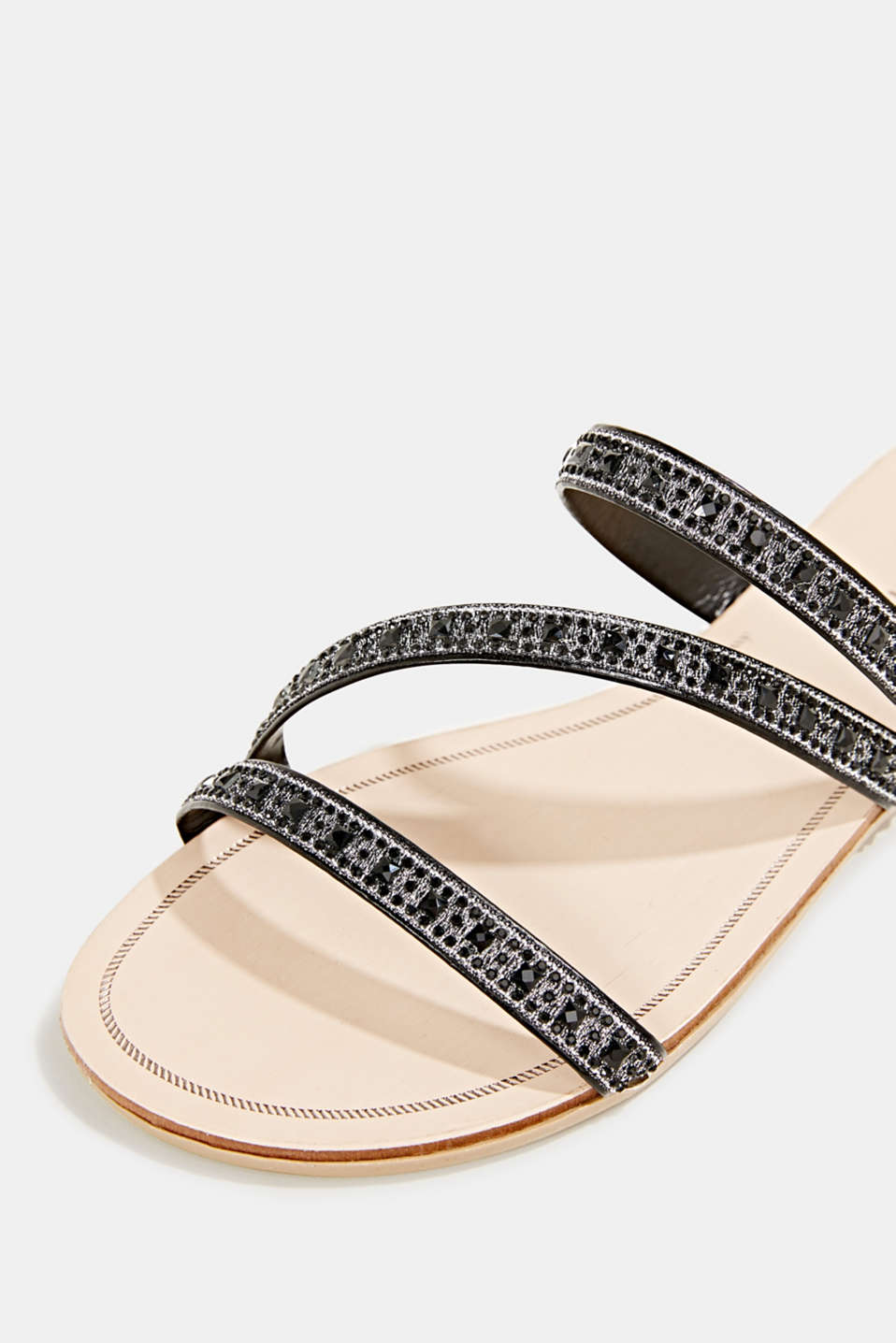 Sandals with glittery straps, BLACK, detail image number 4