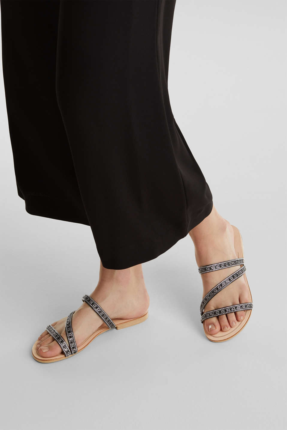 Sandals with glittery straps, BLACK, detail image number 3