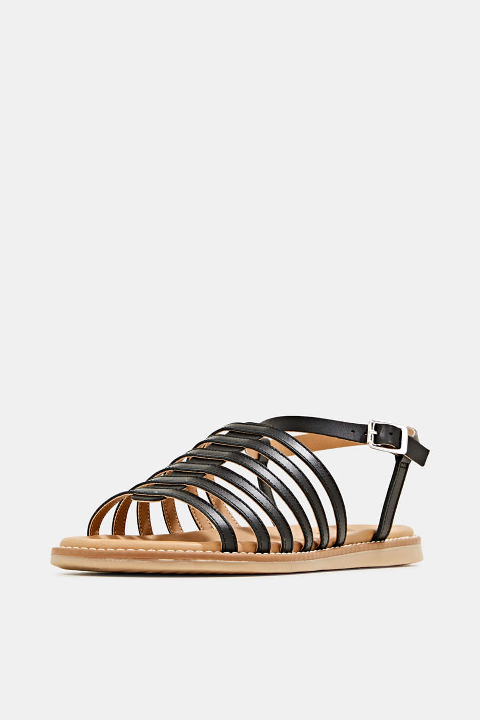 Strappy leather sandals, BLACK, detail image number 1