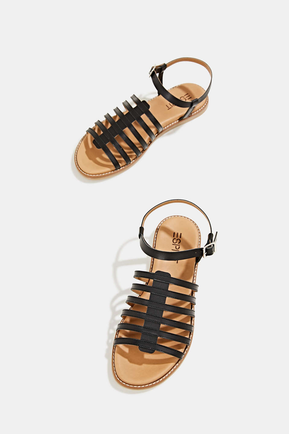 Strappy leather sandals, BLACK, detail image number 4