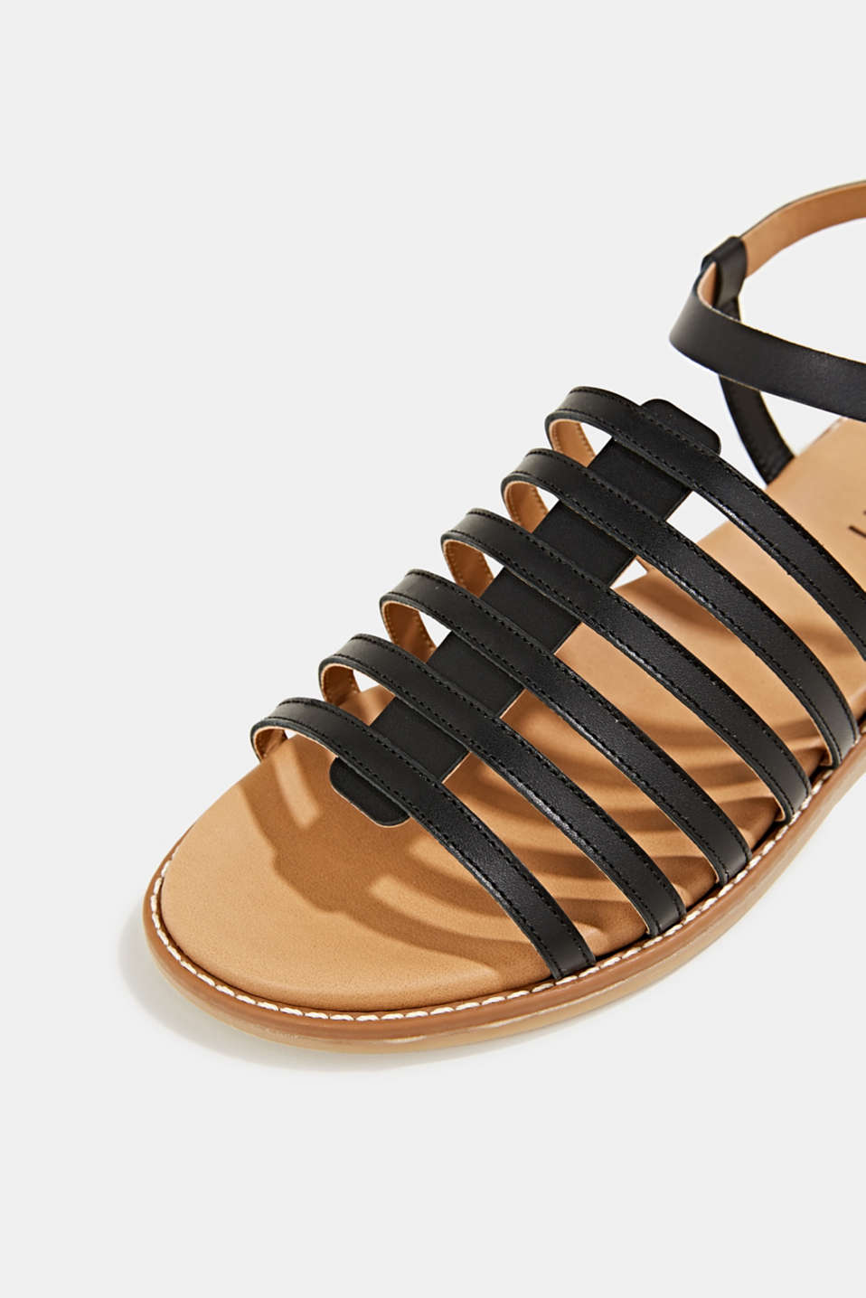 Strappy leather sandals, BLACK, detail image number 3