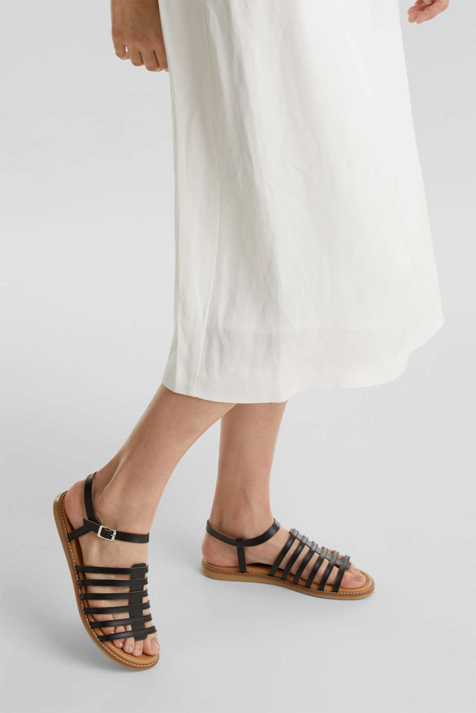 Strappy leather sandals, BLACK, detail image number 2