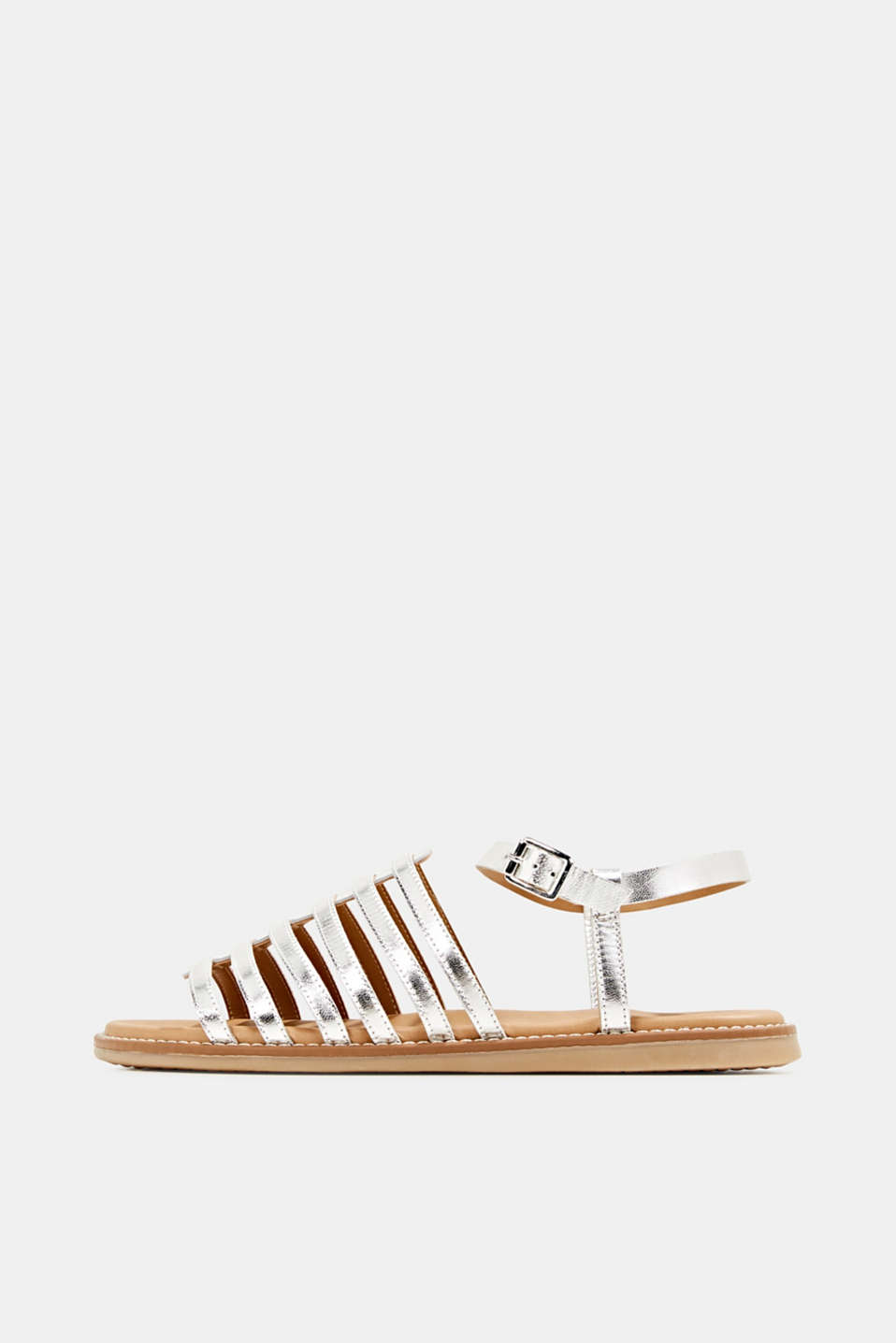 Strappy leather sandals, SILVER, detail image number 0