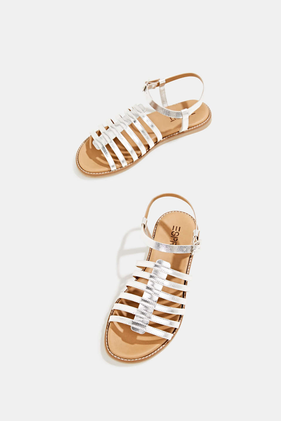 Strappy leather sandals, SILVER, detail image number 1