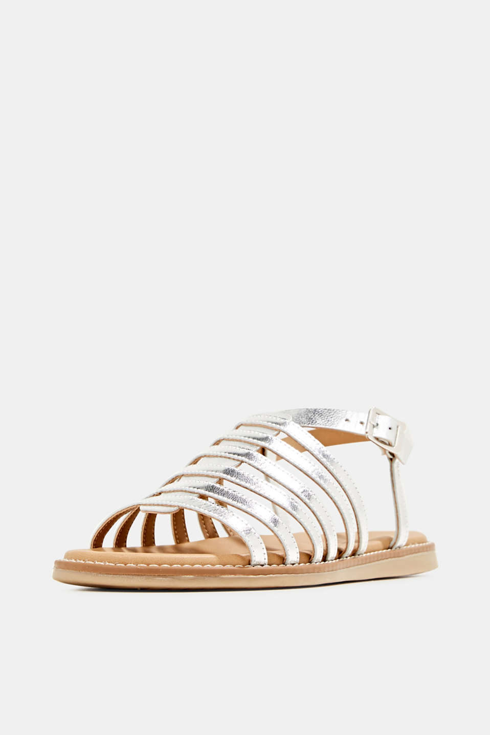 Strappy leather sandals, SILVER, detail image number 2