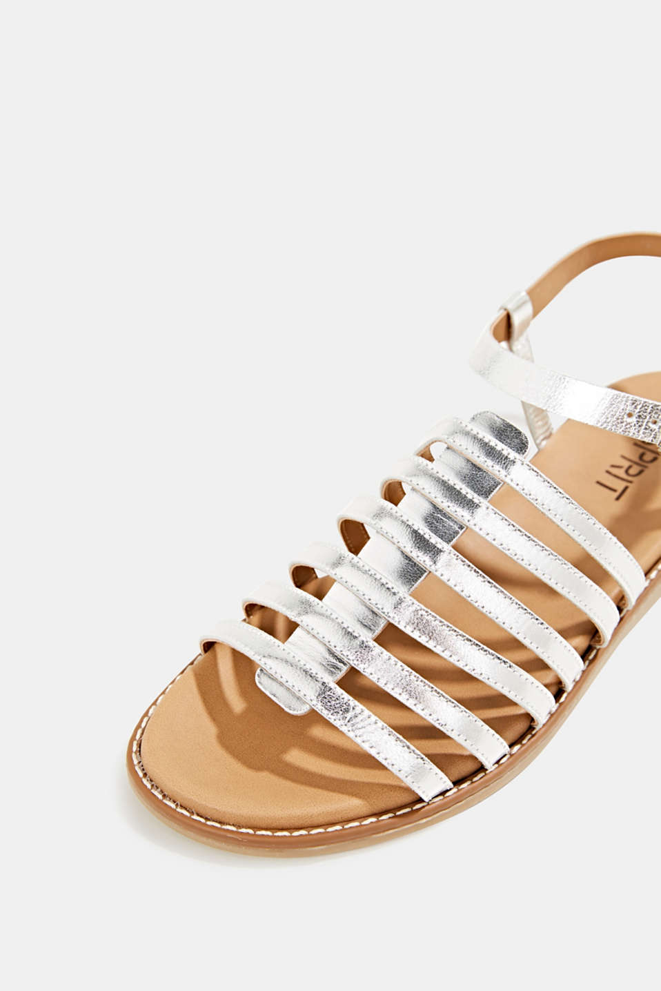 Strappy leather sandals, SILVER, detail image number 4