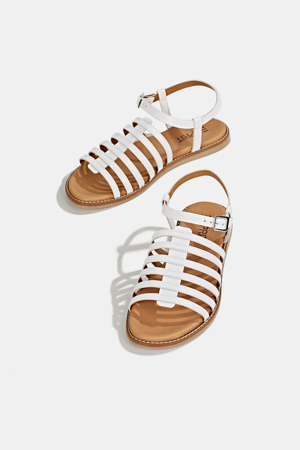 Strappy leather sandals, WHITE, detail image number 1