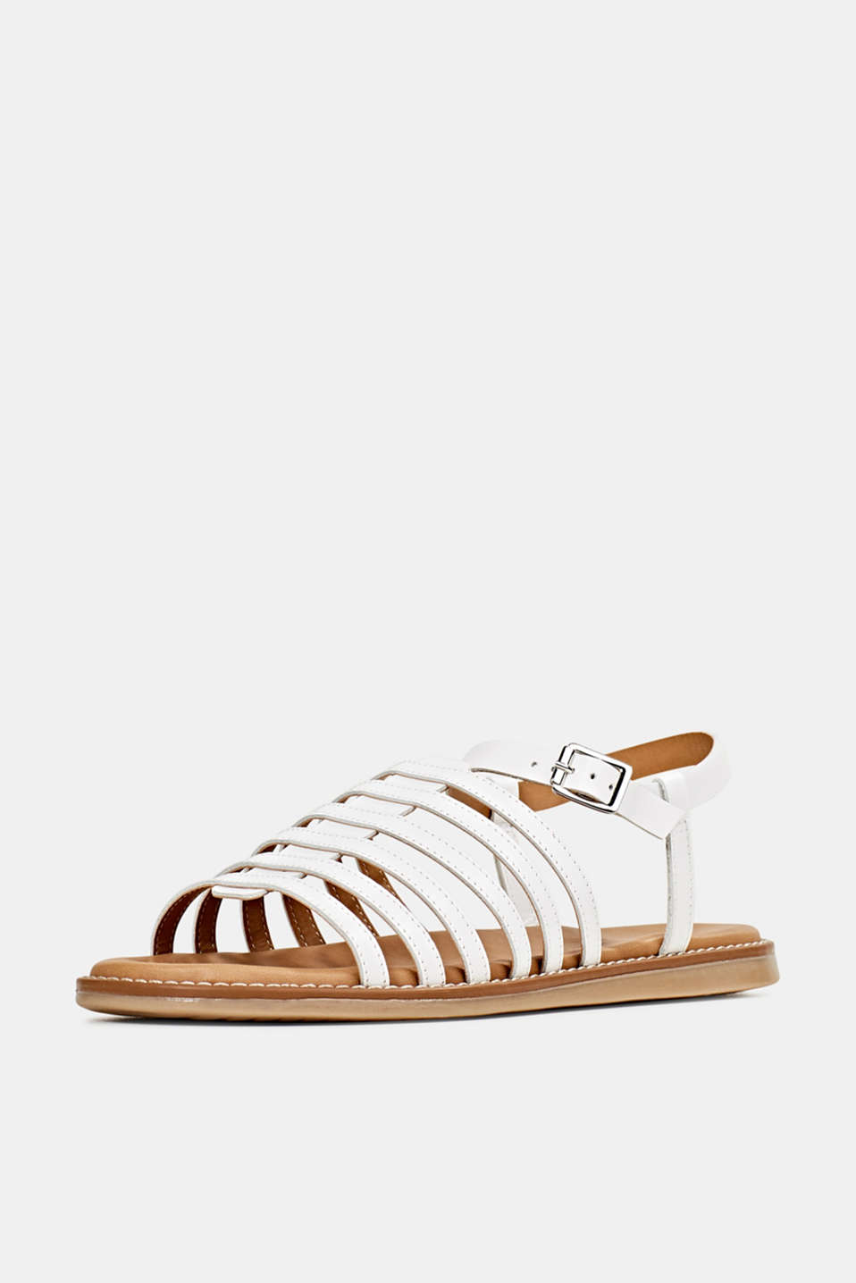 Strappy leather sandals, WHITE, detail image number 2