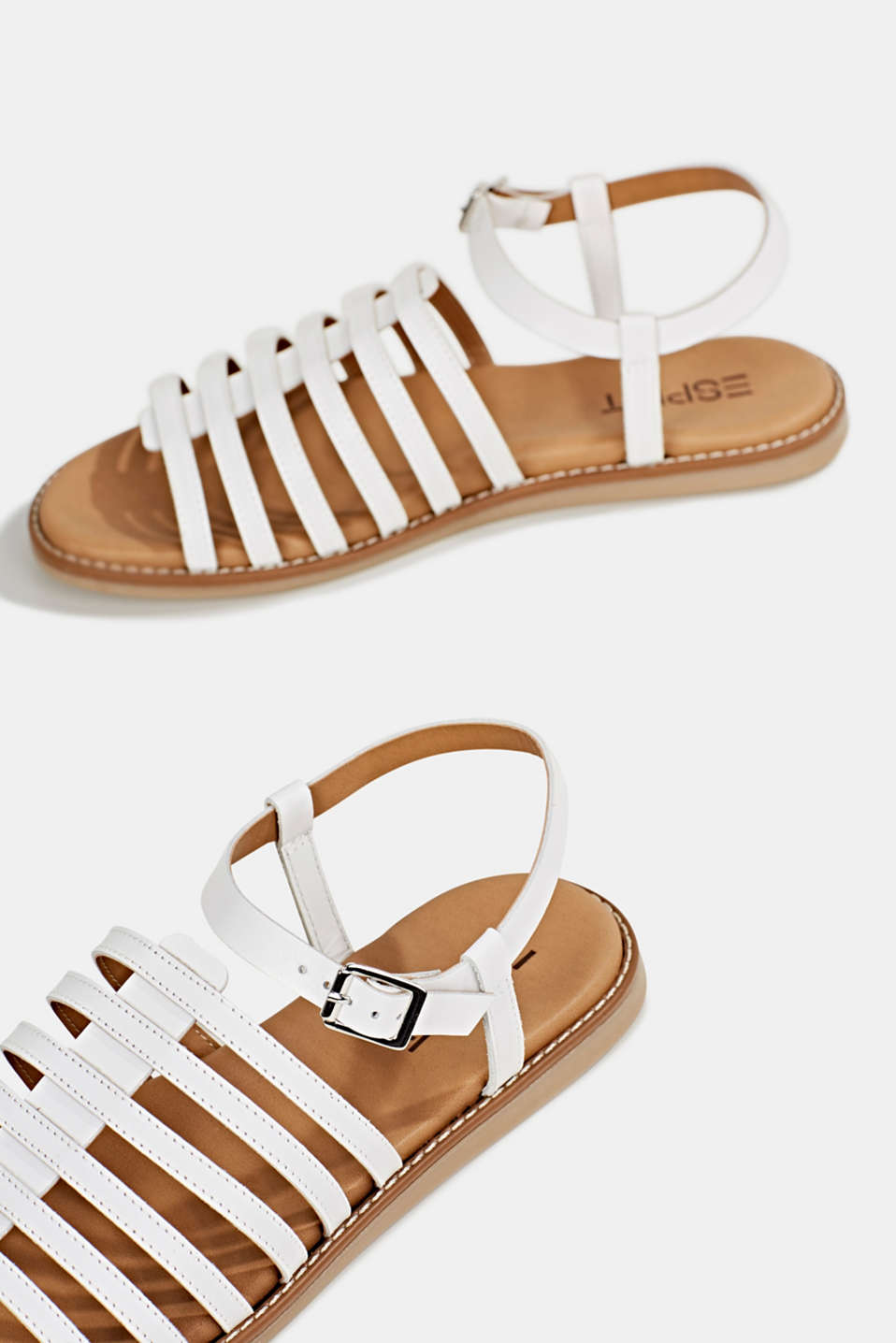 Strappy leather sandals, WHITE, detail image number 5