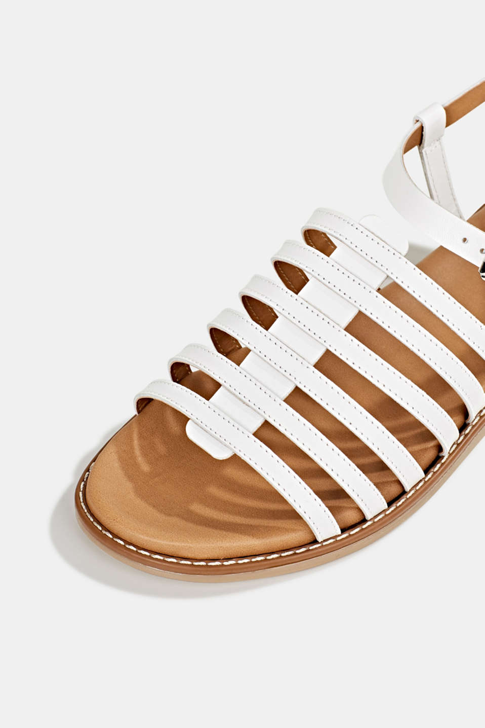 Strappy leather sandals, WHITE, detail image number 4