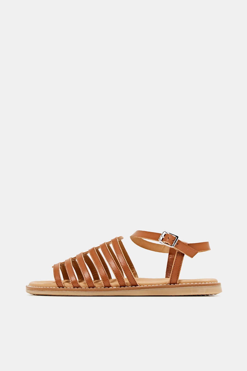 Strappy leather sandals, CARAMEL, detail image number 0