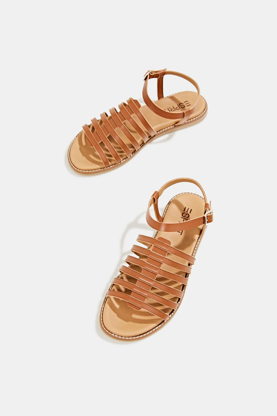 Strappy leather sandals, CARAMEL, detail image number 1