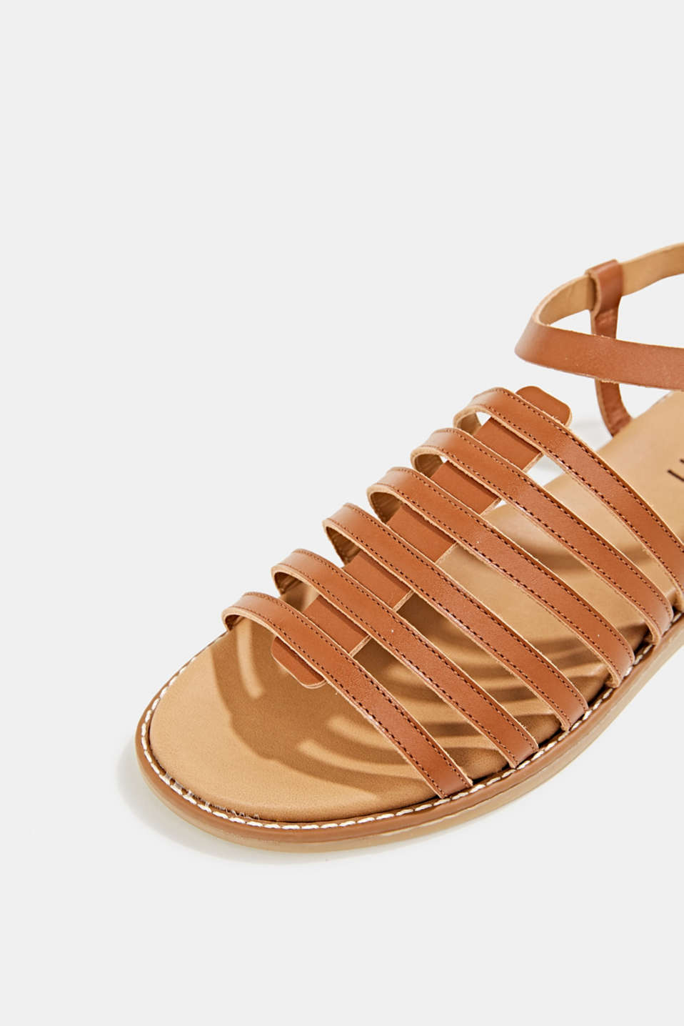 Strappy leather sandals, CARAMEL, detail image number 4