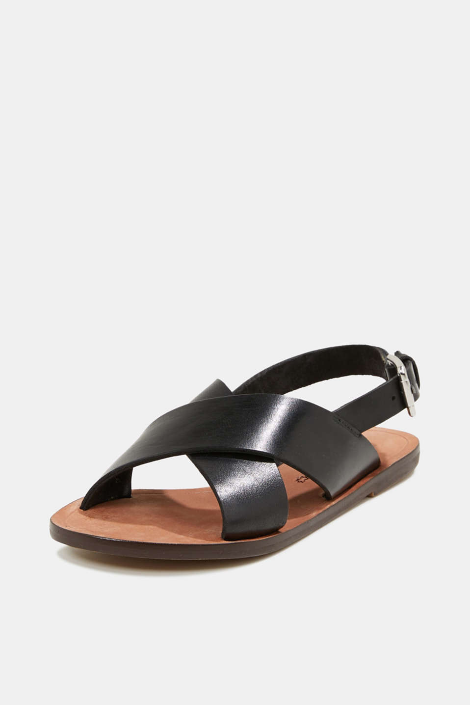 Made of leather: strap sandals, BLACK, detail image number 1