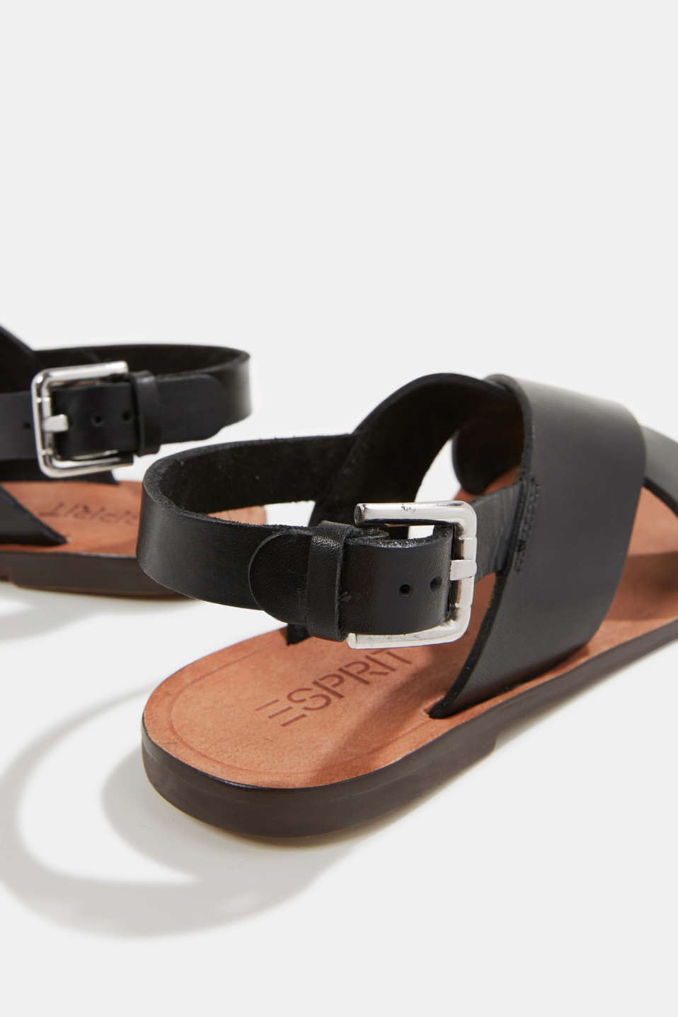 Made of leather: strap sandals, BLACK, detail image number 5