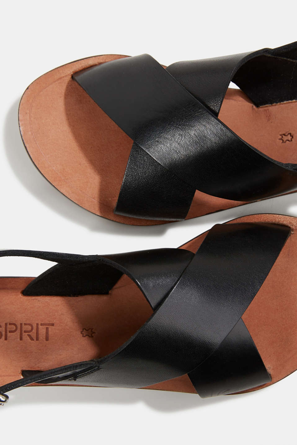 Made of leather: strap sandals, BLACK, detail image number 3