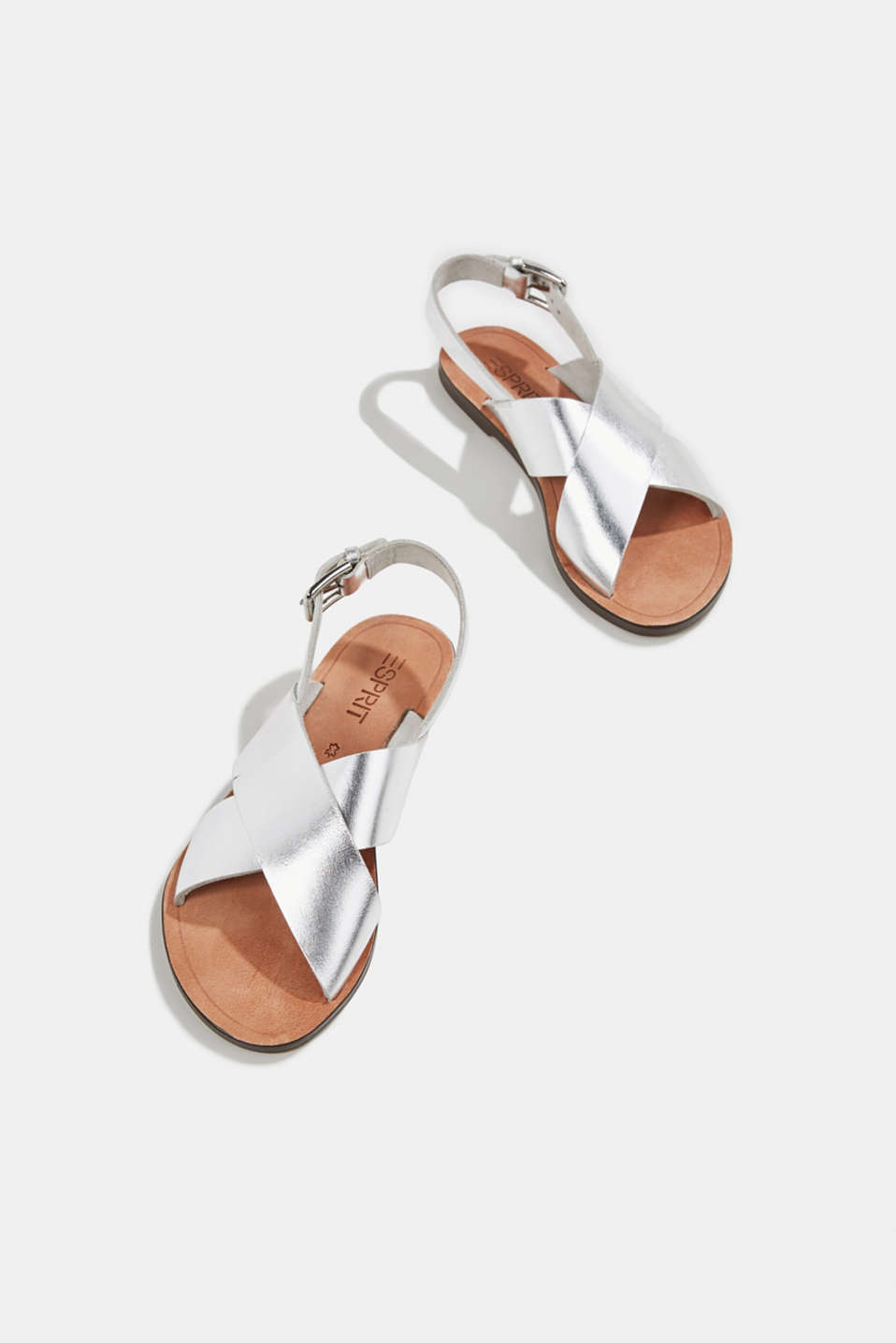 Made of leather: strap sandals, SILVER, detail image number 1