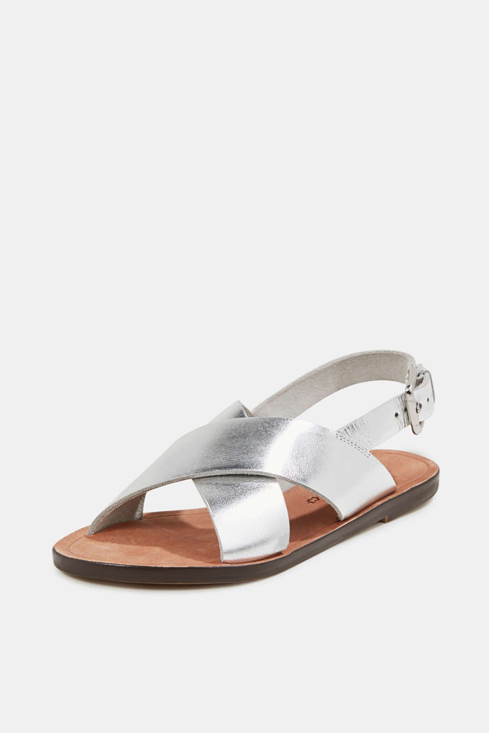 Made of leather: strap sandals, SILVER, detail image number 2