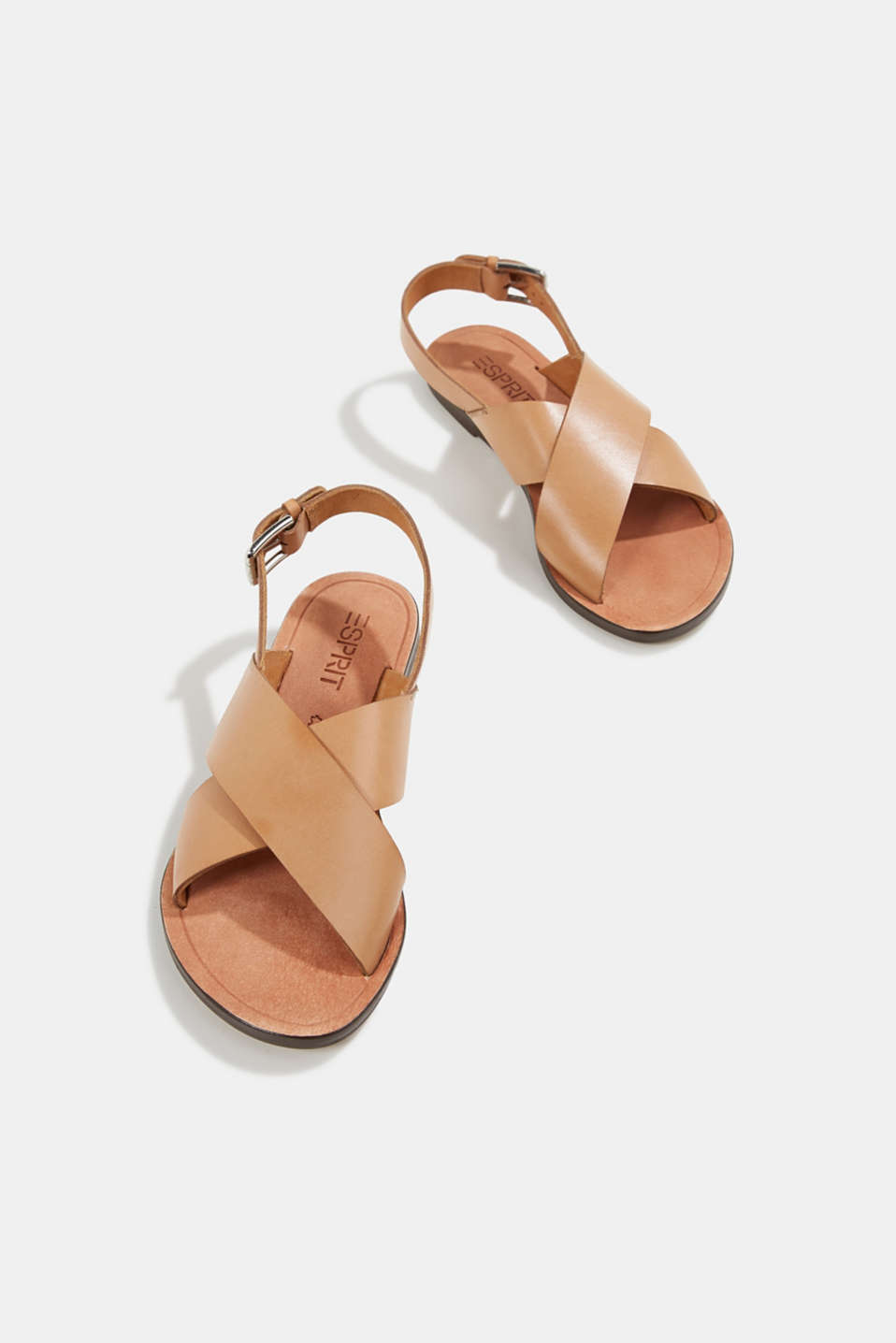 Made of leather: strap sandals, CAMEL, detail image number 1