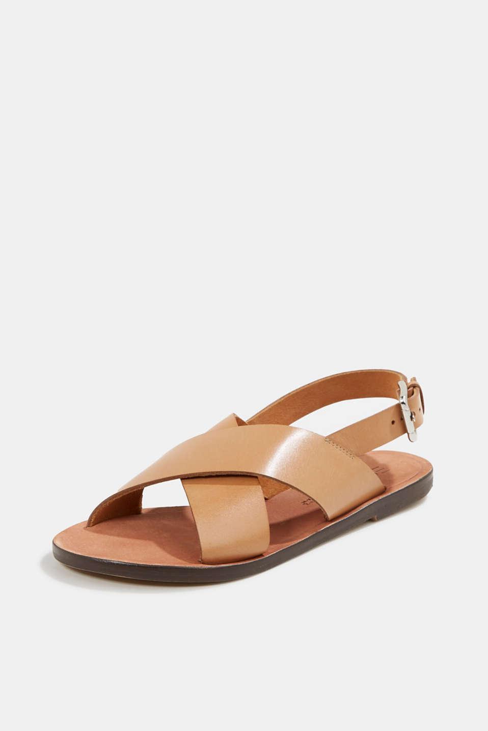 Made of leather: strap sandals, CAMEL, detail image number 2