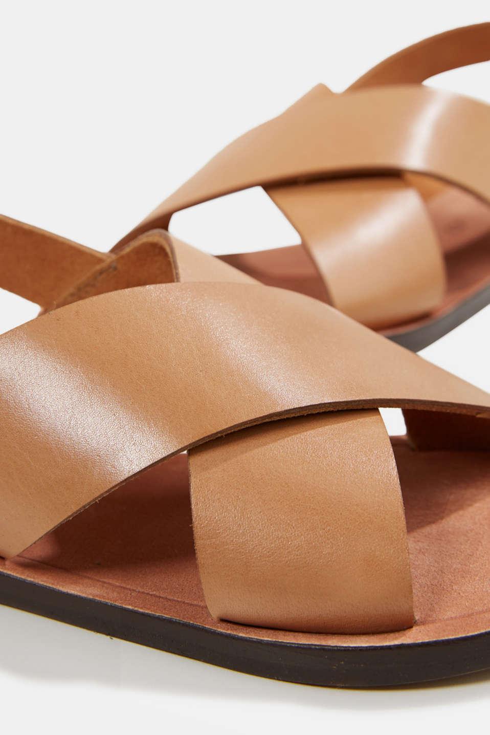 Made of leather: strap sandals, CAMEL, detail image number 4
