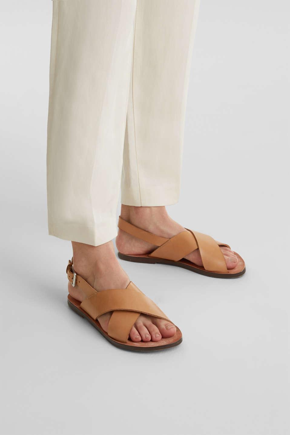 Made of leather: strap sandals, CAMEL, detail image number 3