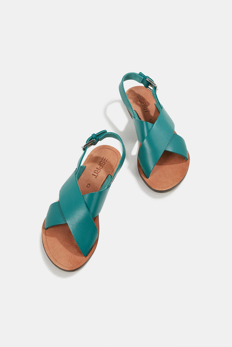 Made of leather: strap sandals, TEAL GREEN, detail image number 1
