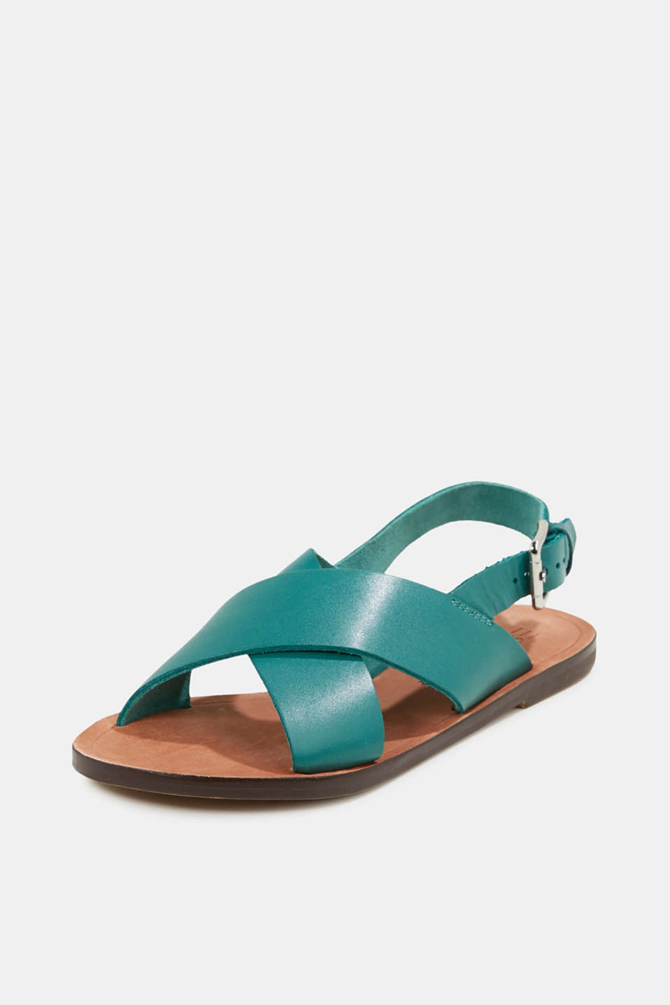 Made of leather: strap sandals, TEAL GREEN, detail image number 2