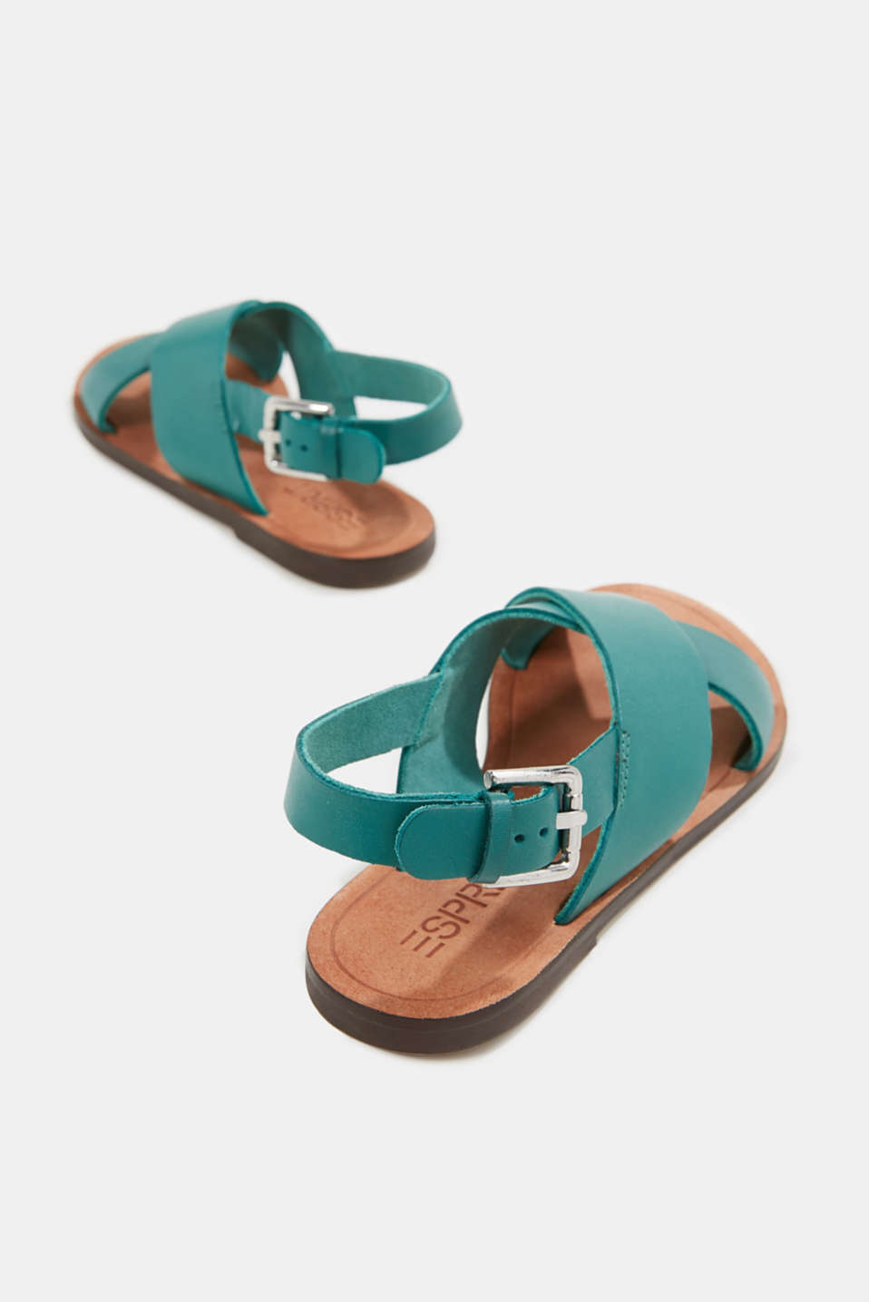 Made of leather: strap sandals, TEAL GREEN, detail image number 5