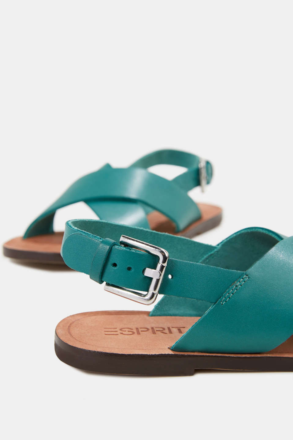 Made of leather: strap sandals, TEAL GREEN, detail image number 4