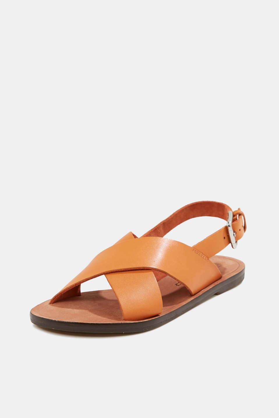 Made of leather: strap sandals, RUST ORANGE, detail image number 2