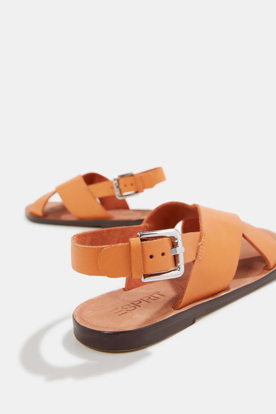 Made of leather: strap sandals, RUST ORANGE, detail image number 4