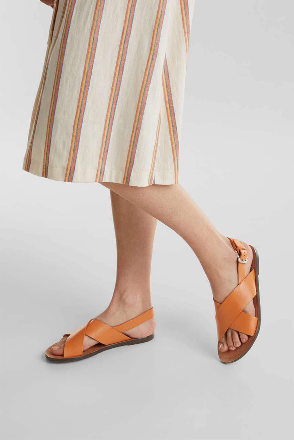 Made of leather: strap sandals, RUST ORANGE, detail image number 3