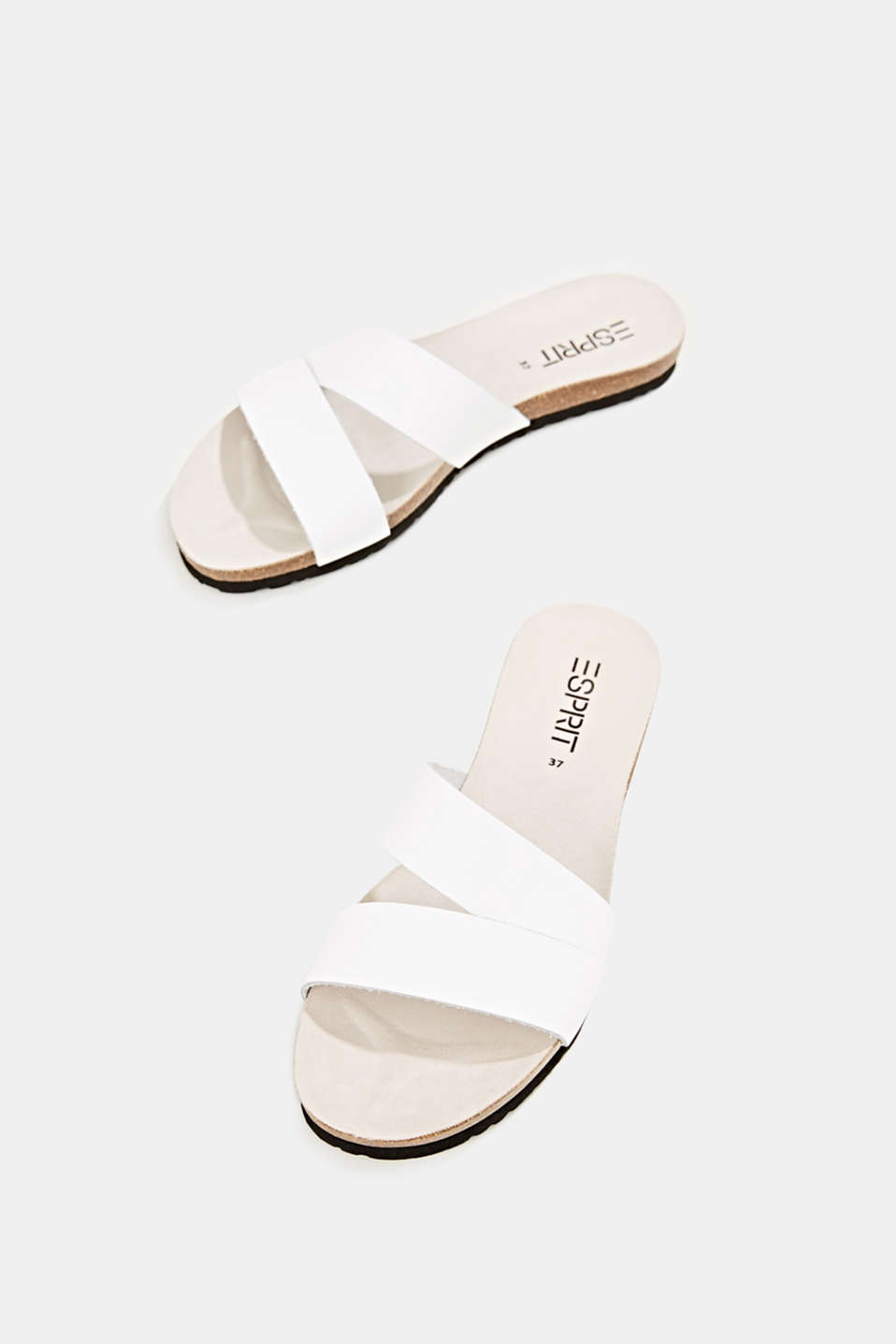 Mules with straps in leather, WHITE, detail image number 1