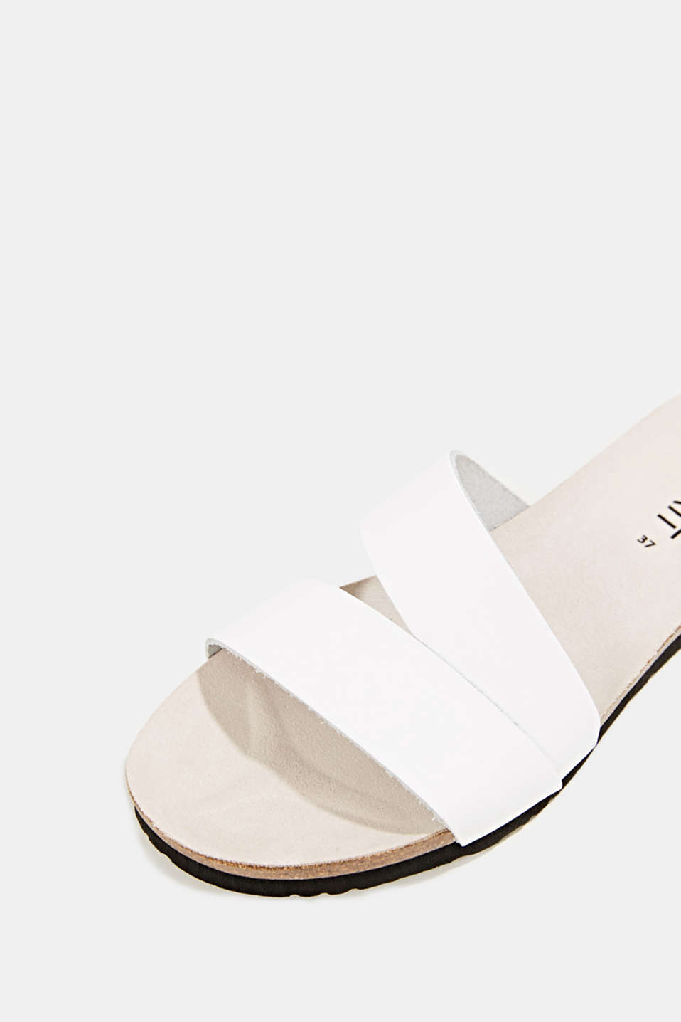 Mules with straps in leather, WHITE, detail image number 4