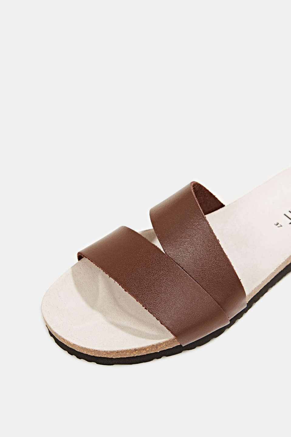 Mules with straps in leather, RUST BROWN, detail image number 4