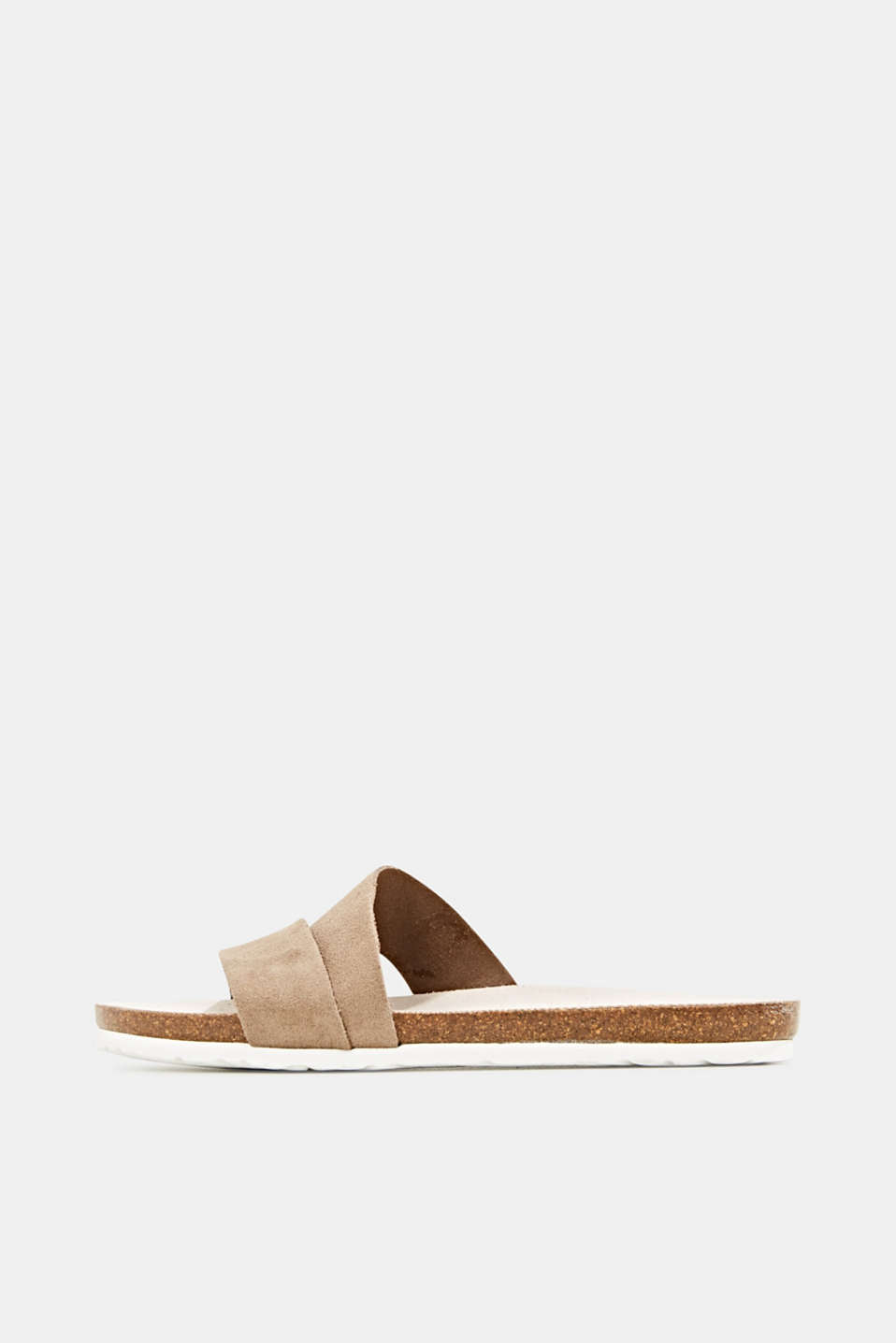 Mules with straps in leather, KHAKI BEIGE, detail image number 0