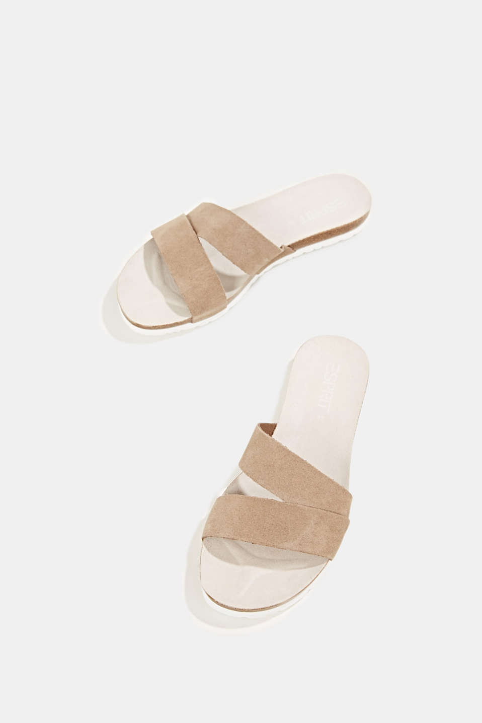 Mules with straps in leather, KHAKI BEIGE, detail image number 1