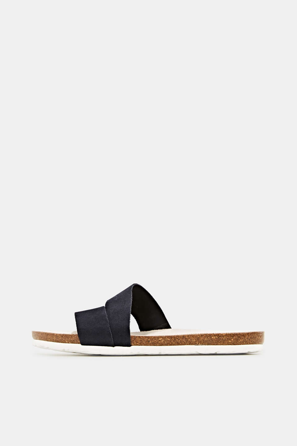 Mules with straps in leather, NAVY, detail image number 0