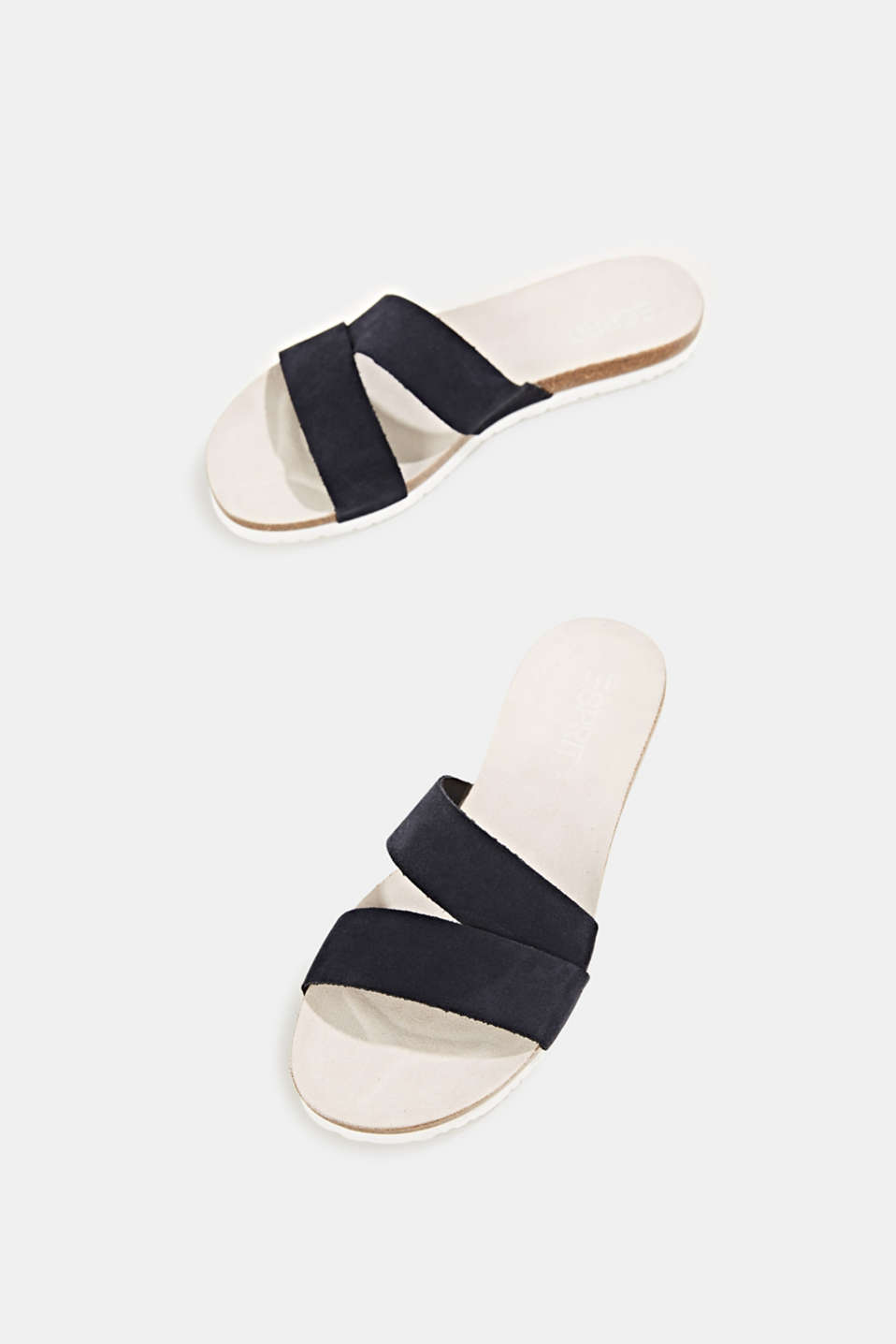 Mules with straps in leather, NAVY, detail image number 1